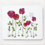 Beautiful Red Flowers Curly Leaves Mouse Pads