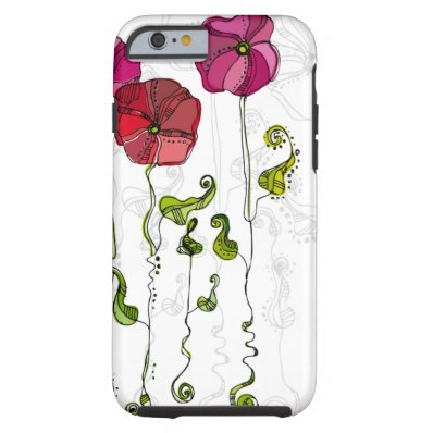 Beautiful Red Flowers Curly Leaves Tough iPhone 6 Case