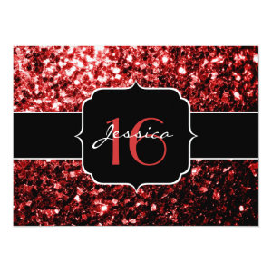 Beautiful Red Glitter sparkles 5.5x7.5 Paper Invitation Card