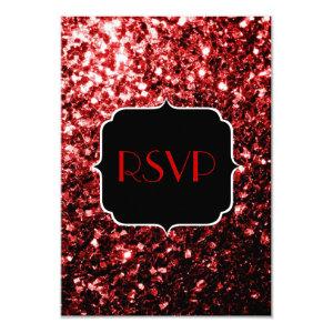 Beautiful Red Glitter sparkles Sweet 16 RSVP 3.5x5 Paper Invitation Card