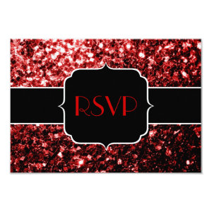 Beautiful Red Glitter sparkles Sweet 16 RSVP 3.5x5 Paper Invitation Card
