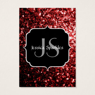 Beautiful Red Glitter sparkles with Monogram Business Card