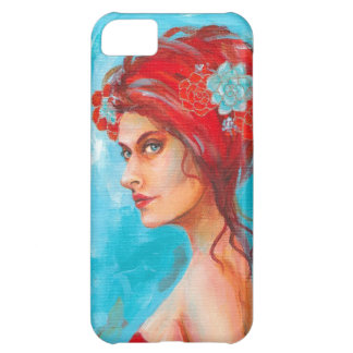 Beautiful Red Head with Flowers in her Hair iPhone 5C Case