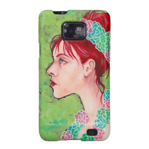 Beautiful Red Head with Pink Flowers Samsung Galaxy SII Cover
