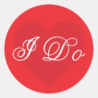 Beautiful red I Do romantic wedding day sticker