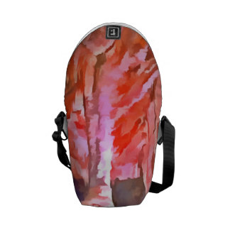 Beautiful red in a cave messenger bag