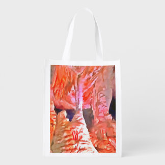 Beautiful red in a cave reusable grocery bag