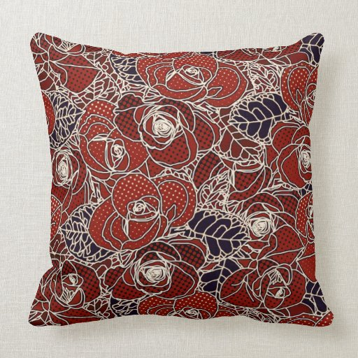 Beautiful Red, Ivory, and Blue floral Throw Pillow Zazzle