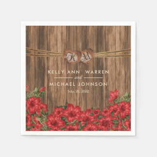 Beautiful Red Lily Flowers on a Wood Background Napkin