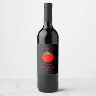 Beautiful Red on Black Tomato Home Wine Label