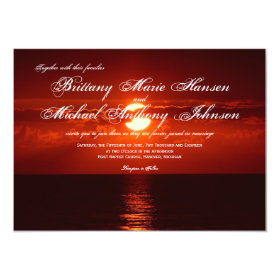 Beautiful Red Orange Sunset Wedding Invitations 4.5