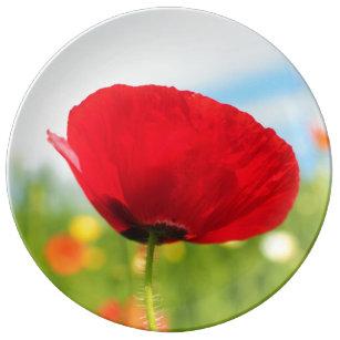 Beautiful Red Poppies Plates | Zazzle