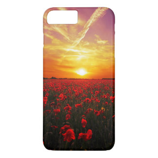 Beautiful red poppy flower field sunset iPhone 8 plus/7 plus case