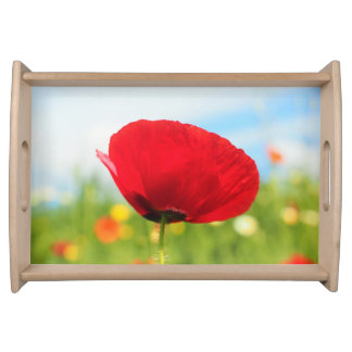 Beautiful Red Poppy Flower Serving Tray