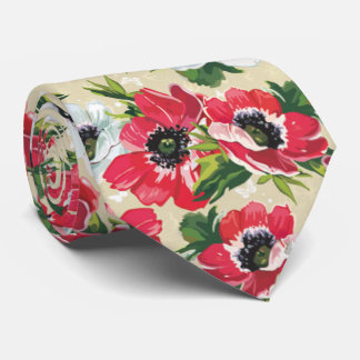 Beautiful red poppy, white daisies and butterflies neck tie