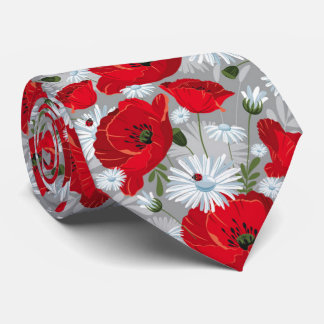 Beautiful red poppy, white daisies and ladybug neck tie