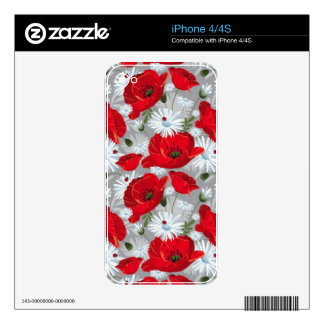 Beautiful red poppy, white daisies and ladybug skin for iPhone 4