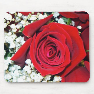 Beautiful Red Rose and Baby's Breath, mousepad