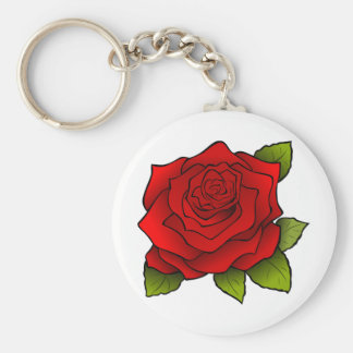 Beautiful Red Rose Basic Round Button Keychain