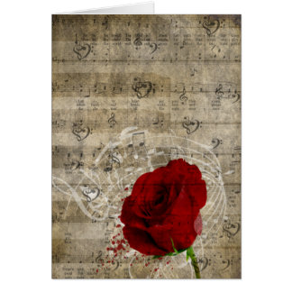 Beautiful red rose music notes swirl faded piano