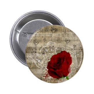 Beautiful red rose music notes swirl faded piano button