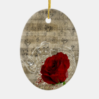 Beautiful red rose music notes swirl faded piano ceramic ornament
