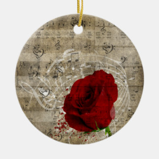 Beautiful red rose music notes swirl faded piano Double-Sided ceramic round christmas ornament