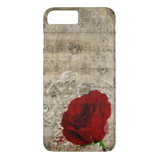 Beautiful red rose music notes swirl faded piano iPhone 7 plus case