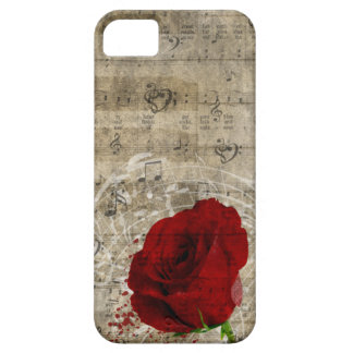 Beautiful red rose music notes swirl faded piano iPhone SE/5/5s case