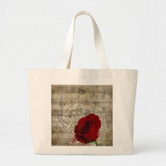 Beautiful red rose music notes swirl faded piano jumbo tote bag