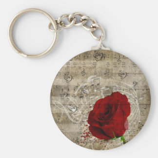 Beautiful red rose music notes swirl faded piano keychain