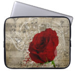 Beautiful red rose music notes swirl faded piano laptop sleeves