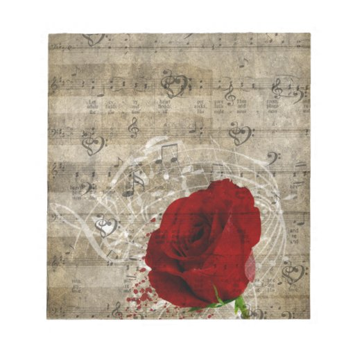 Beautiful red rose music notes swirl faded piano note pad