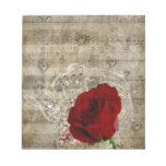 Beautiful red rose music notes swirl faded piano memo notepad