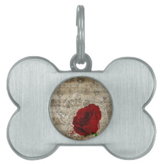 Beautiful red rose music notes swirl faded piano pet name tag