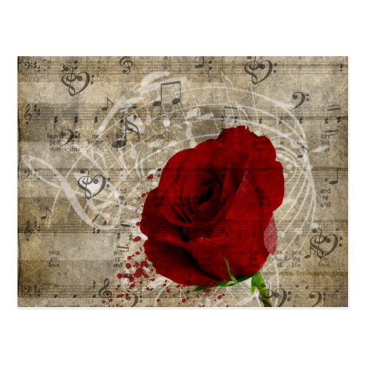 Beautiful red rose music notes swirl faded piano postcard | Zazzle