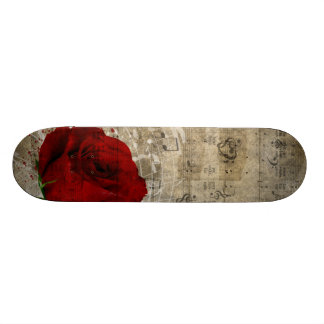 Beautiful red rose music notes swirl faded piano skate board decks