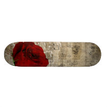 Beautiful red rose music notes swirl faded piano skateboard deck