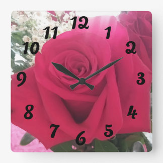 Beautiful Red Rose Picture Square Wall Clock