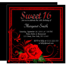 Beautiful red rose sweet 16 invitation