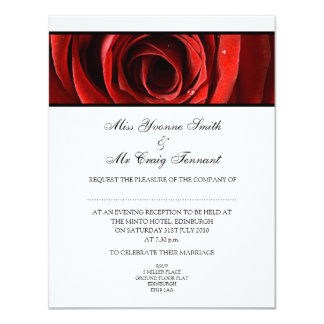 Beautiful Red Rose Wedding Evening Reception-White Card