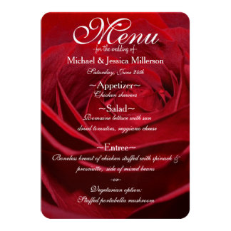 Beautiful Red Rose Wedding Menu Card