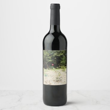 Beach Themed Beautiful Red Rose Wine Label