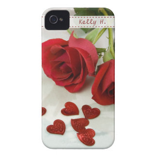 Beautiful Red Rose with Metallic Heart iPhone 4 Covers
