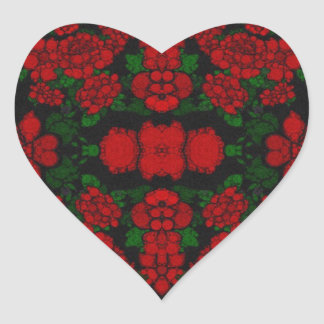 Beautiful Red Roses Abstract Heart Sticker
