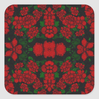 Beautiful Red Roses Abstract Square Sticker
