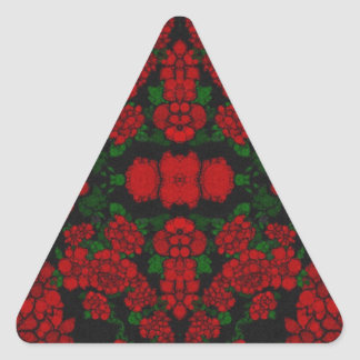 Beautiful Red Roses Abstract Triangle Sticker