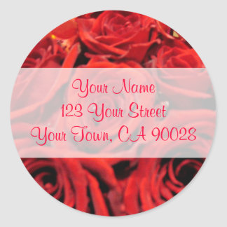 Beautiful red roses Address Labels Classic Round Sticker