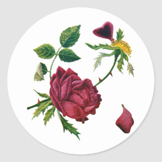 Beautiful Red Roses Done in Crewel Embroidery Classic Round Sticker