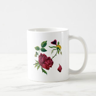 Beautiful Red Roses Done in Crewel Embroidery Coffee Mug